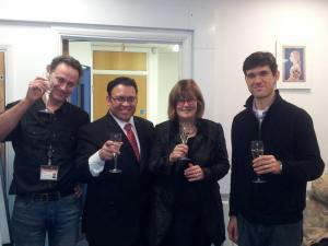 Post-VIVA celebration with my PhD examiners Prof. Ralf Stanewsky and Prof. Aurelio Teleman, and my PhD mentor Prof. Dame Linda Partridge.